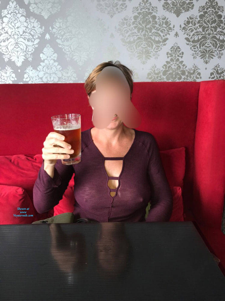 Pic #1Sheer In The Bar - Public Exhibitionist, Flashing, Public Place, See Through, Dressed, Amateur, Women In See Through Clothes