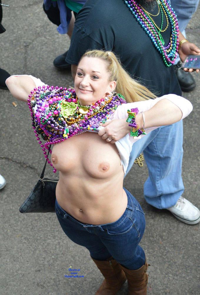 Pic #1Mardi Gras - Big Tits, Public Exhibitionist, Flashing, Outdoors, Public Place