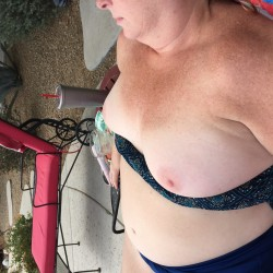 Medium tits of my wife - Big Red