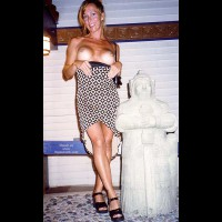 Blonde Titts - Tan Lines , Blonde Titts, Flashing Breast In Public, Sculpture Dress, Tan Lines, Dress Pulled Down