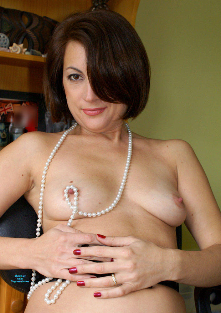 Pic #1Anna At 40 - Just Pearls, Belt And Whip - Nude Girls, Brunette, Amateur
