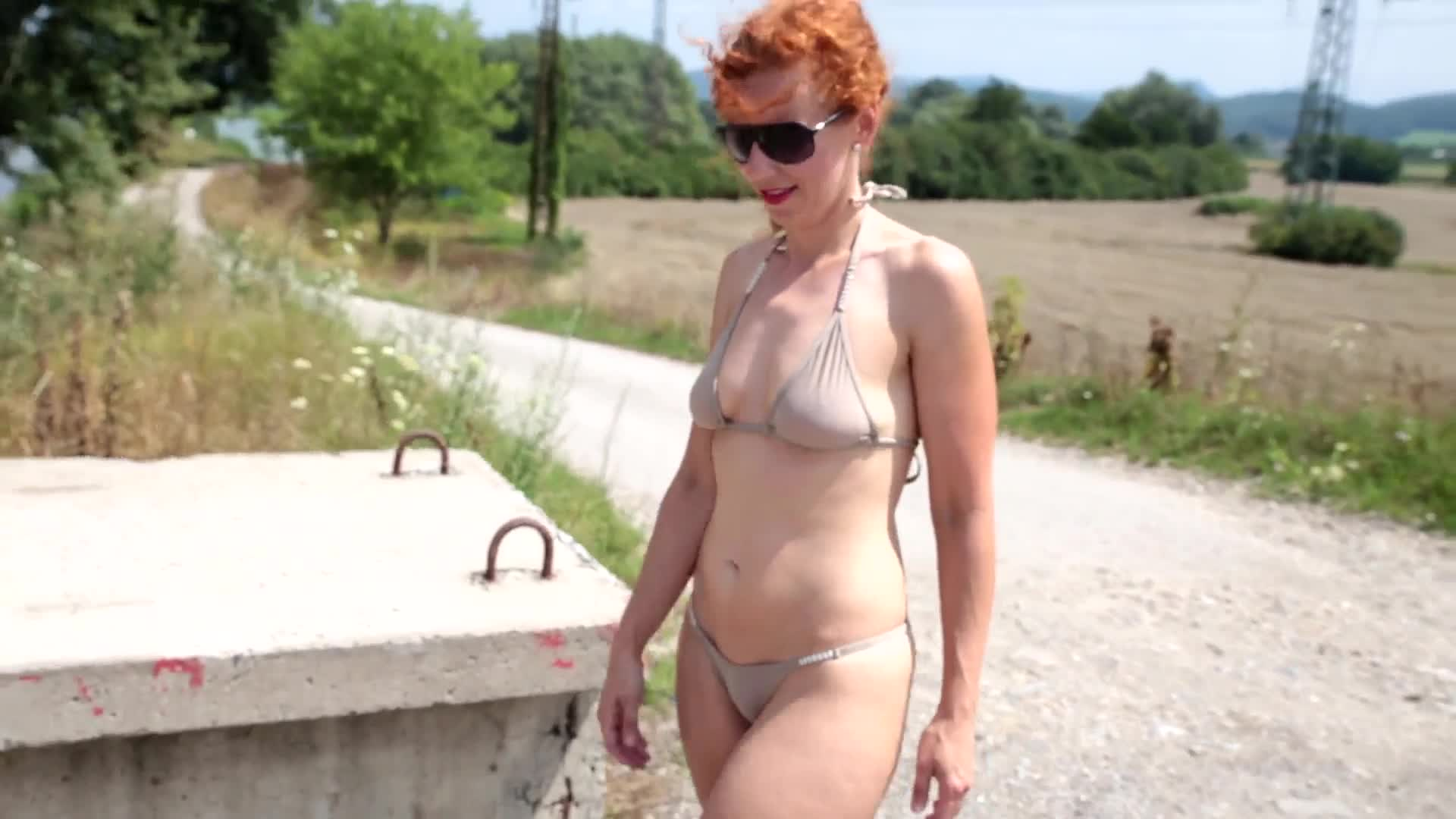 Pic #1Lena - Summer Adventure - Nude Girls, Public Exhibitionist, Masturbation, Outdoors, Redhead, Shaved, Softcore, Amateur