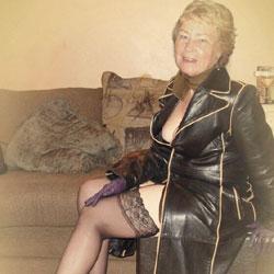 Cathy Shiny Rubber Slut Granny - Mature, Dressed, Granny