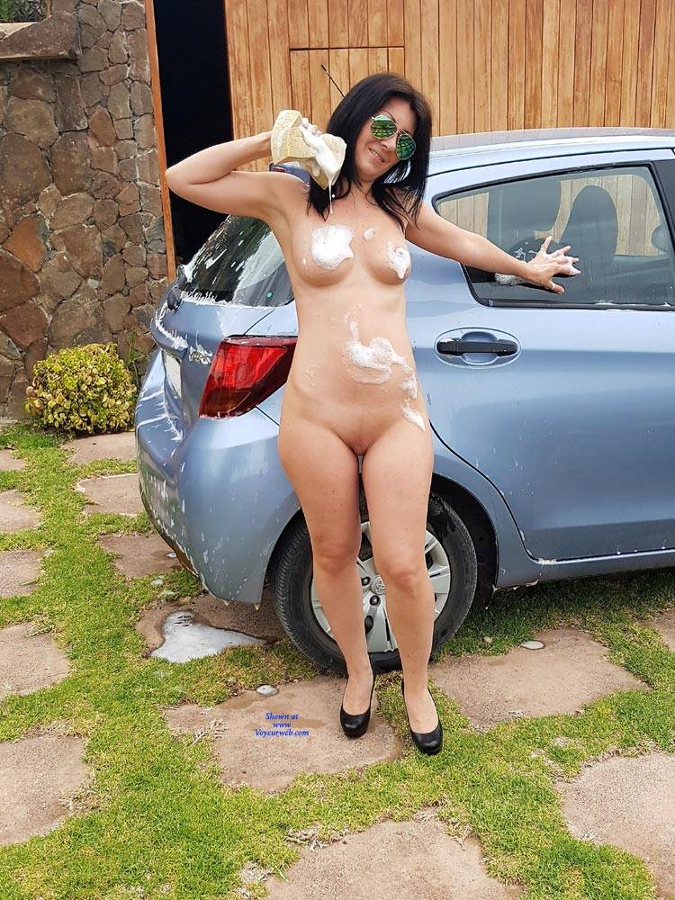 Pic #1Car Wash - Nude Girls, Big Tits, Brunette, High Heels Amateurs, Outdoors, Shaved
