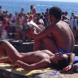 I Voyeur Or You Exhibitionist?? - Topless Girls, Brunette, Outdoors, Beach Voyeur