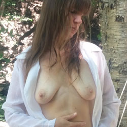 At The Chalet - Big Tits, Brunette, Outdoors, See Through, Amateur