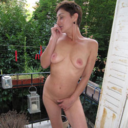 Nude On Balcony - Nude Girls, Big Tits, Brunette, Outdoors, Bush Or Hairy, Amateur