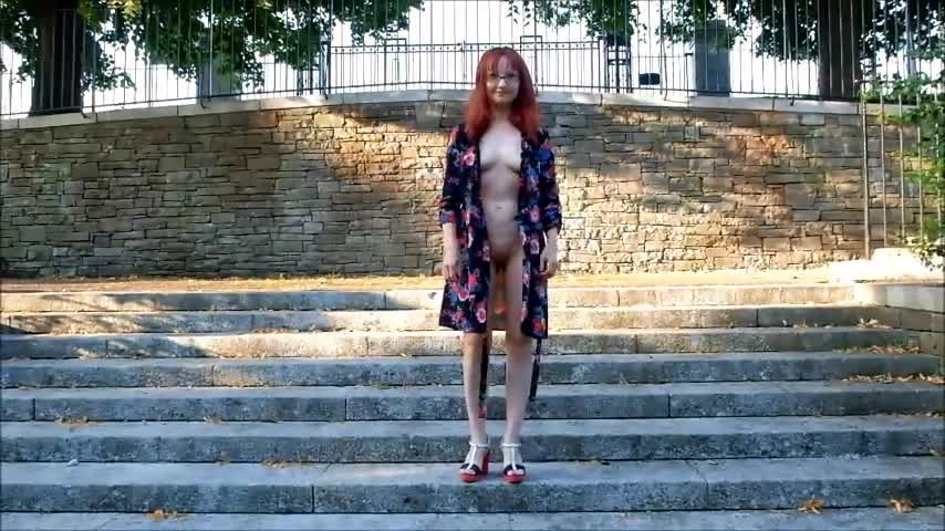 Pic #1Brave Walk Pt.2 - Nude Girls, Public Exhibitionist, Outdoors, Public Place, Shaved, Amateur, Medium Tits, Firm Ass, Redhead