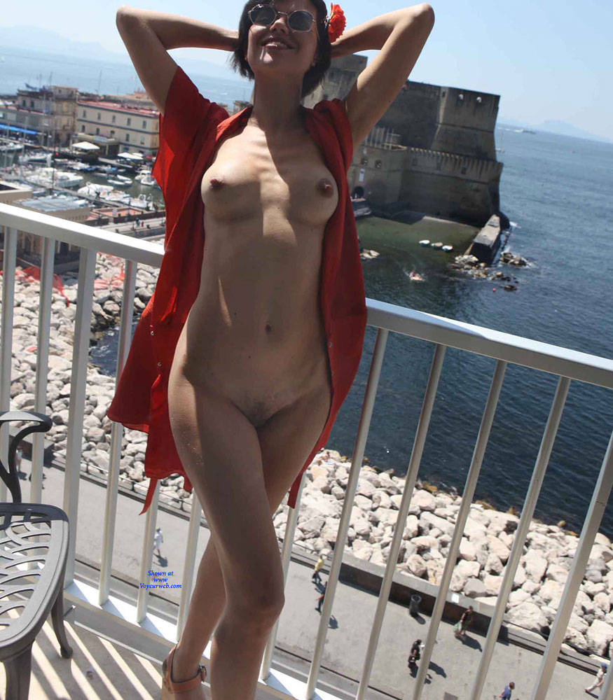 Pic #1Balcony View - Nude Girls, Brunette, Public Exhibitionist, Flashing, Outdoors, Amateur, Firm Ass
