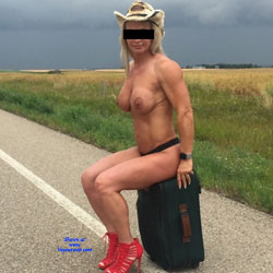 Hitchhiking - Topless Girls, Big Tits, High Heels Amateurs, Outdoors, Blonde