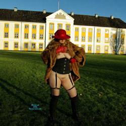 A Pissing MILF In A Mink Coat With A Red Hat - Pantieless Girls, Public Exhibitionist, Lingerie, Outdoors, Public Place, Amateur