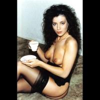 Girl In Black Lingerie - Black Hair, Milf, Sexy Face , Glamour Girl, Drinking Tea, Spanish Beauty On Siesta, Sitting On Floor, Black Lingerie