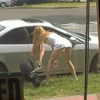 Street Voyeur , Upskirt, Up-skirt From Rear, Bending Over Up-dress, Mini Dress, Giving Driver Directions, Up Skirt, White Cotton Sundress Straps, Voyeured Upskirt, Asking For Directions, Lucky Dog
