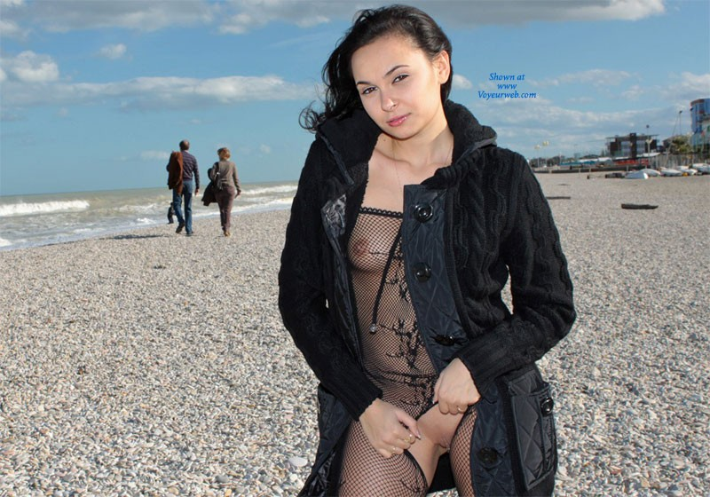 The Sea in November - Brunette Hair, Beach Voyeur, Sexy Lingerie , The Day Was Cold That Day ...