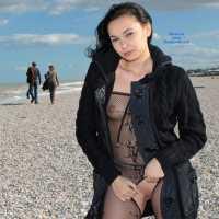 The Sea in November - Beach, Brunette, Lingerie