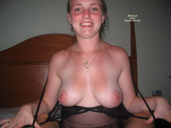 Milf - Big Tits, Blonde Hair, Large Aerolas, Milf , Big Smile, Big Round Tits, Full Breasts, On Her Bed, Exposing Her Tits, Large Pink Areolas, Elastic Lingerie, Tan Lined Big Round Tits