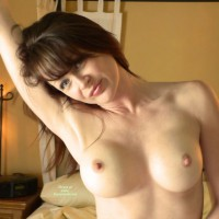 Arm Raised - Blue Eyes, Dark Hair, Large Breasts, Pale Skin, Perky Nipples , Pale Skin, Pointed Nipples, Slight Grin, Tattooed Neck, Shaved Armpits, Head To One Side
