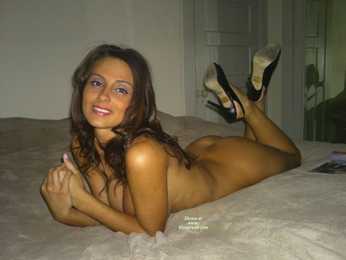 Nude In High Heels Lying On Bed Facing Camera - Brunette Hair, Heels, Naked Girl, Nude Amateur , Naked Pose, On Bed With Heels, Bed Nude, Classic On Bed, Sling Back Heels, Legs And Heels, All Over Tan, Nude On Bed, Bare Ass Up