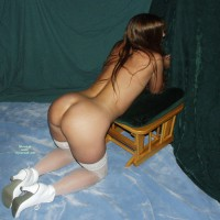 Waiting For The Rod - Brunette Hair, Naked Girl, Nude Amateur , Kneeling For A Spanking, White Stockings, Long Haired Brunette Nylons, Kneeling On Floor, Legs And Ass, White Ankle Boots, Kneeling Nude, White Lace Stocking Tops, Wfi