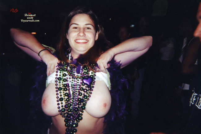 Mardi Gras Girl Flashing Big Tits For Beads - Big Tits, Flashing , Dark Background, Big Beads For Big Boobs, Smiling At Camera, Public Flashing, Drunk Titty Flash, Mardi Gras, Flashing Breasts For Beads, Lifting Shirt, Flashing Tits