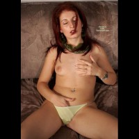 Hand Down Panties - Dark Hair, Long Hair, Red Hair, Topless , Orgasmic Expression, Holding Boob, Reclining Topless Shot, Eyes Closed, Hand In Panties, One Hand In Knickers, Other On Breast, Puffy Nipples, Dark Red Hair, Beige Panty, Long Red Hair