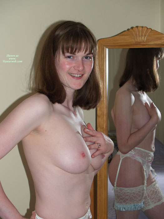 Mirror View - Brunette Hair, Hard Nipple, Natural Tits, Topless , Smiling Charmingly To Camera, One Hand On Hip, Tiny Areolas, Mirror Shot, One Hand Over Breast, Indoor Tits, In The Mirror, Stockings And Heels, Very White Skin, Smiling Directly At The Camera, Brunette Reflected Topless, Bright Pink Erect Nipples, Garter Lace Stockings Smile