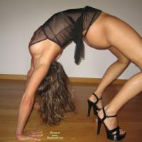 Bent Over Backwards In Thong And High Heels Profile - Heels, Long Legs , Black Sheer Babydoll, Bendy Girl, Black Platform Heels, Black Dress, Black G-string, See Through Dress, Flexible Girl, Flexible, Sexy Shoes, Long Lean Legs