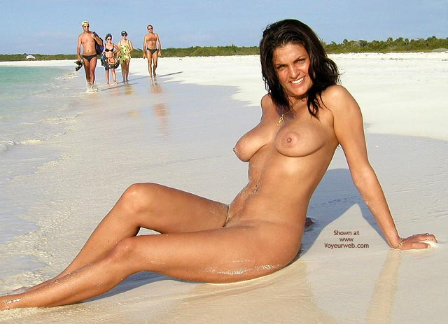 Tanned Body - Brunette Hair , Tanned Body, Smiling Brunette, Beach Nude