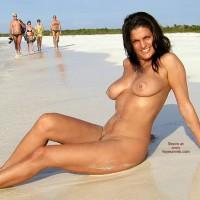 Tanned Body - Brunette Hair , Tanned Body, Smiling Brunette, Beach Nude