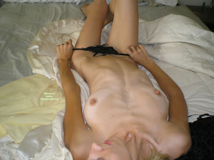 Naked Blonde Laying On Bed Taking Off Panties - Blonde Hair, Tan Lines , Slipping Off Black Panties, Laying Down, Removing Panties, Black Thong, Pulled Down Black Panties, Lean And Mean, Reclining Woman Waiting For Lover, Classic On Bed, B Cup Tits, Hard Nips, Slipping Off Thong, Skinny Blonde, Down Body View