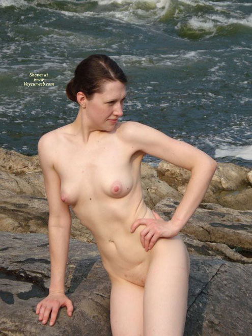 Nude In Nature - Brunette Hair, Nude Outdoors, Shaved Pussy, Naked Girl, Nude Amateur , Nude On A River Rock, Outside By A River, Outdoor Frontal Nude, Puffy Pink Nipples, Hand On Hip, Total Naked, Sea Side, Big Nipples