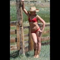 Sexy Blond Cowgirl In Red Bra And Panties With Boots - Blonde Hair , Legs Together, Cowboy Boots, Standing At Fence, Red Lace Panty, Red Lace Lingerie, Cute Blonde Outdoors In Lingere, Standing Outdoors, Cowboy Hat, Sexy Cowgirl, Looking Away From Camera, Red Lace Bra