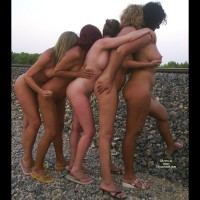 Group Nudity - Nude In Public, Naked Girl, Nude Amateur , 5 Girls By Train Track, Naked Women By Train Track, Girl Girl, Naked Girl Train, 5 Women A Sandles Pulling A Train, Mass Nudity, Ladies Standing, Artistic Nude Ladies
