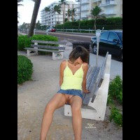 Pantyless In Public - Exhibitionist, Flashing, Shaved Pussy , Exposed In Public, Pantyless, Deep V Pussy, Park Bench Flash, Showing Pussy In Public, Pantiless Upskirt, Leaning Backwards On Arms, Legs Open, Summer Breaze, Up-skirt On Park Bench, Bottomless Upskirt Seated On Edge Of Park Bench