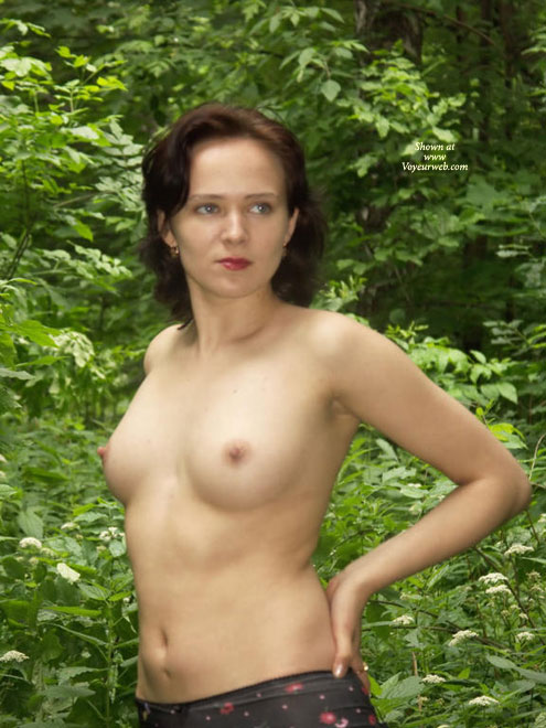 Topless In The Woods - Topless , Beauty And Nature, Nipples In Nature, All Natural, Auburn Hair, Hands On Hips, Relaxed In The Garden