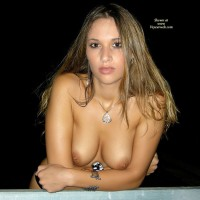 Leaning On Railing - Brown Eyes, Brunette Hair, Long Hair, Topless, Sexy Face , Full Lips, Chica Caliente, Long Brunette Hair, Smooth Skin, Medium Breasts, Gorgeous Face, Brown Nipples, Brown Eyes