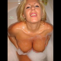 Blonde Bathing - Blonde Hair, Blue Eyes , Soapy Tits, Wet Breasts, Suck Me Lips