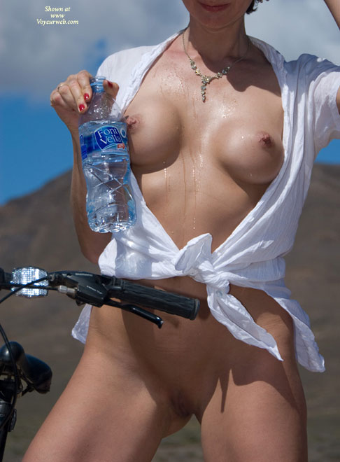 Distanced Bobs - Erect Nipples, Shaved Pussy , Wet Tshirt, Twat Shot, Red Nail Polish, White Blouse, White Tie, Beauty Al Fresco With Bottle And Bike, Round Tits, Wet Boobs, Shirt Wide Open, Wet Tits