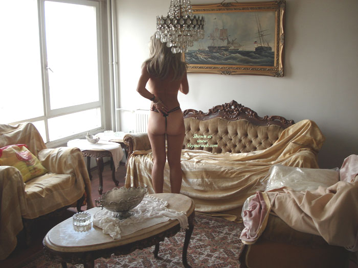 Rearview Of Topless Girl In Elegant Room - Tan Lines, Topless , G-string White Ass, Tan Lines On Ass Cheeks, Elegant Ass Cheeks