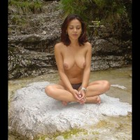 Exotic Heaven - Topless , Exotic Heaven, Exotic Topless, Topless On A Rock, Sitting Cross Legged, Sitting On A Rock, Meditation, Brown Areolae