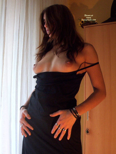 Pierced Nipples Brunette In Black Dress - Brunette Hair, Dark Hair, Long Hair, Natural Tits, Pierced Nipples, Topless , Exposing Breasts, Standing At Window Drapes And Cabinet, Topless Brunette In Black Dress, Topless Girlfriend, Large Round Aerolas, Perky, Standing In Front Of A Spider, Topless Standing Indoor By Window