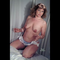 Topless Frontal View Kneeling On Bed In Panties - Blue Eyes, Milf, Topless, Looking At The Camera , Big Dark Areolas, On Her Knees, Pearl Necklace, Big Boobs, Squatting On Floor, Bright Blue Eyes, White Shelve Bra And Blue Panities, Mature Tits