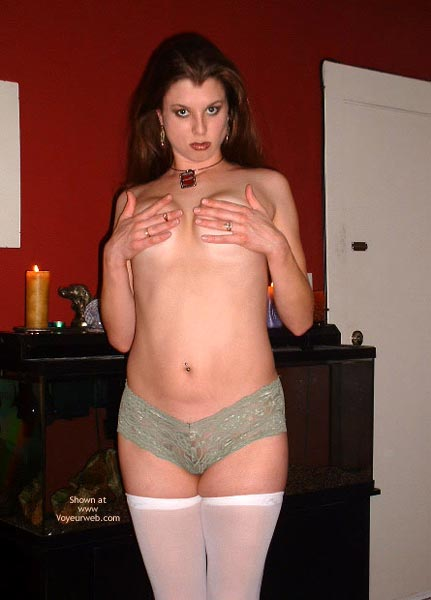 Green Boy Shorts And White Stockings On - Long Hair , Green Boy Shorts And White Stockings On, Green Hipster Lace Panties, Long Red Hair, White Thigh High Stockings, Chunky Necklace, White Stay Ups, Seafoam Green Panties