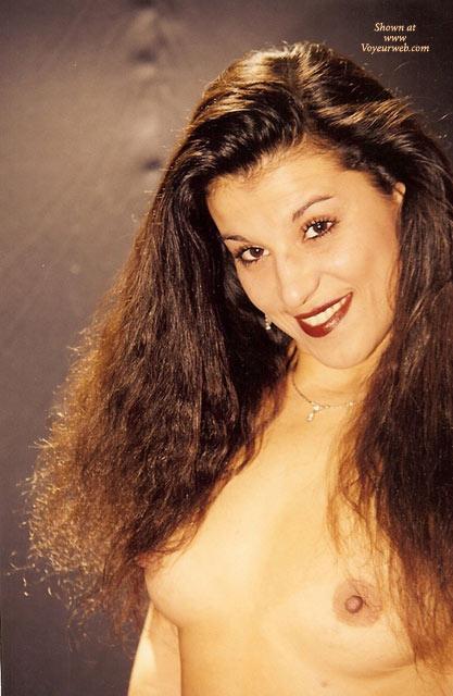 Topless Portrait - Dark Hair, Long Hair, Topless , Dark Curly Hair, Nice Smile, Smiling