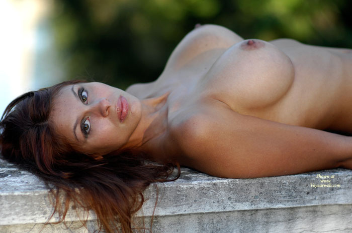 Brunette Laying On Bench Outdoors Topless - Big Tits, Brown Hair, Brunette Hair, Erect Nipples, Large Breasts, Topless , Almond Eyes, Laying On Gray Stone Bench, Firm Breasts, Bj Lips, Shiny Lips And Large Breasts Outdoors, Brunette With Large Boobs
