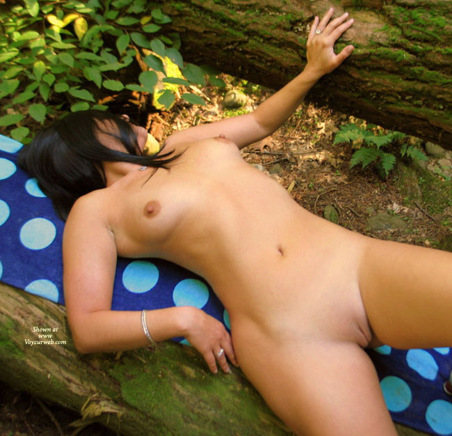 Bare Beaver In Forest - Shaved Pussy, Small Tits, Bald Pussy, Hairless Pussy , Outdoor Body Shot, Breasts, Belly And Shaven Pussy Exposed, Arching Her Back To Stretch Out Her Belly, Twat Shot, Lying On Back Outside, Lounging On A Log, Naked On A Towel