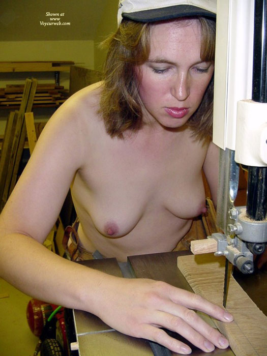 Naked Carpenter - Topless , Working On Hardwood, Topless In Wood Shop