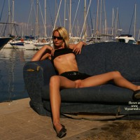 Flashing Tits And Pussy At The Marina - Blonde Hair, Flashing , Sitting On An Old Sofa By The Water, Black Tank Top, Outdoor Tits And Pussy, Twat Shot, Spread At Harbor, Full Flash At The Marina, Sitting On A Couch Outdoor, Black Skirt