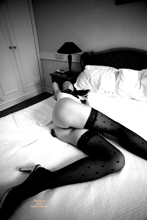 Sexy Long Legs - Long Legs, Stockings, Sexy Legs , High Heel Sandals, Black And White Photography, Classic On Bed, Sexy, Butt Shot, Lying On Hotel Bed, Glamour Pic, Very Long Legs