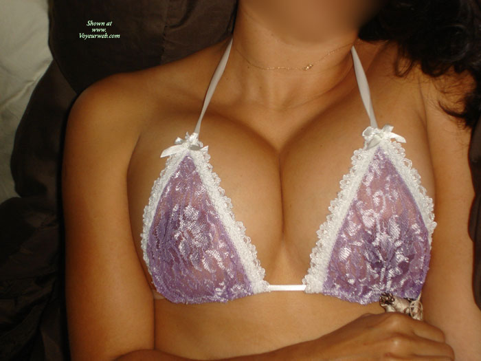 Lacey Top , Showing Her Breasts In A Sheer Bra, Thin Gold Necklace, Purple Lace, See-through, Luscious In Lavender, Lacey Bra, Cleavage, See-through Bra, Pretty Bra